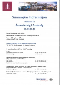 Sunnmøre Indremisjon inviterer til årsmøtehelg i Fosnavåg 03.-05.06.16
